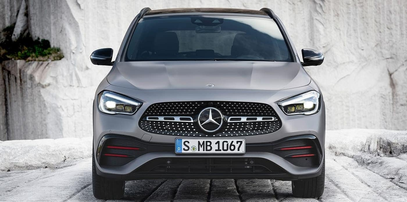 2021 Mercedes-Benz GLA 250 exterior in grey with red accents