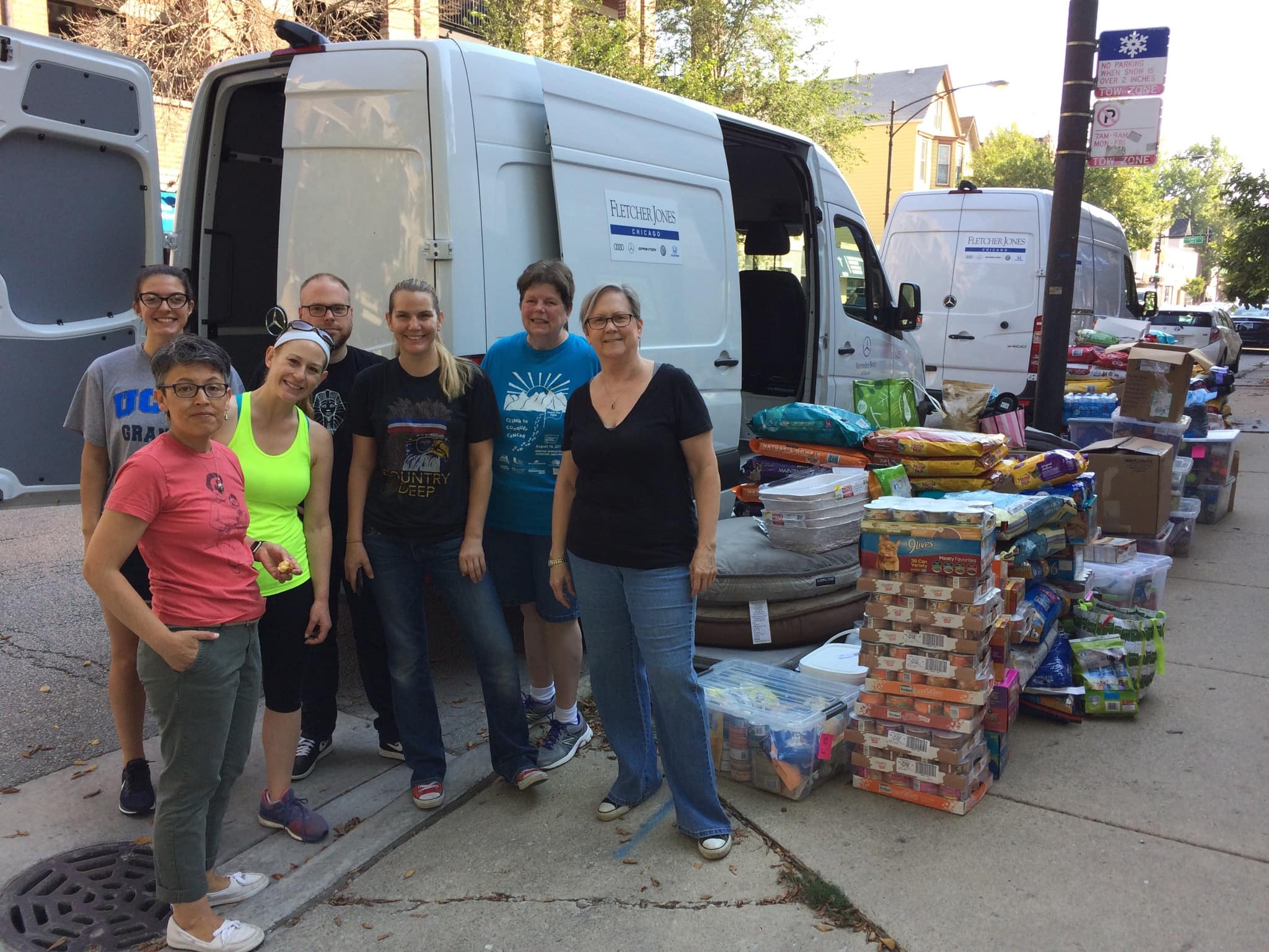 Volunteers that helped load the Sprinter Vans