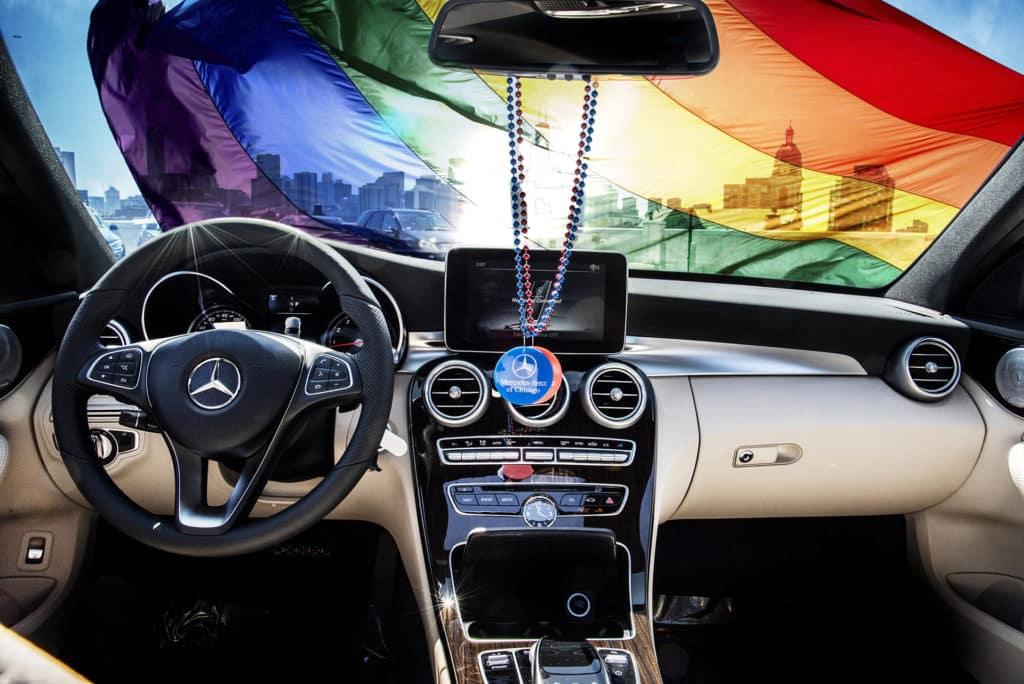 Mercedes-Benz gay pride rainbow flag