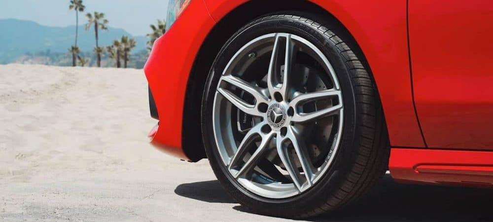Closeup of CLA coupe tire
