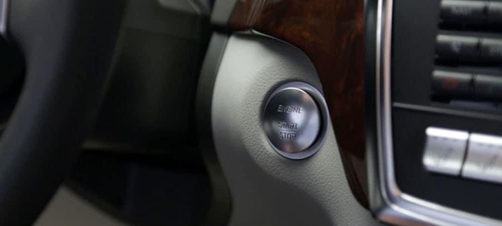 Closeup of Push Start ignition inside Mercedes-Benz vehicle