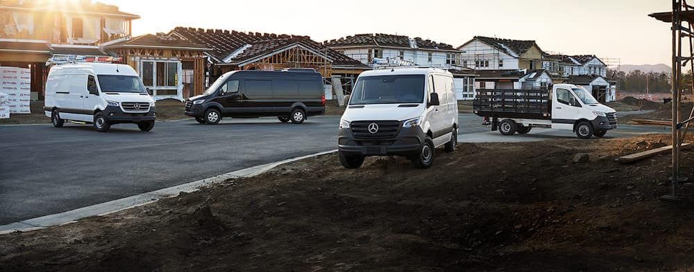 Mercedes-Benz Sprinter and Metris Vans parked together on jobsite