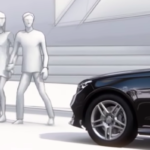 Dramatization of PRESAFE System with pedestrians walking in front of car