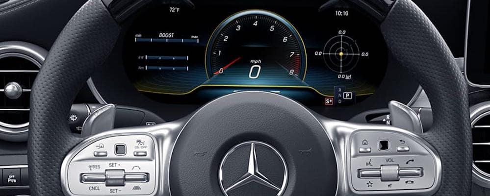 Steering wheel and speedometer inside C 63 Sedan