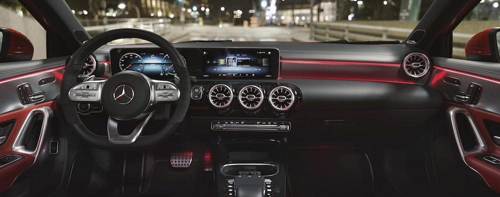 Red-trimmed front-seat interior of 2019 A-Class