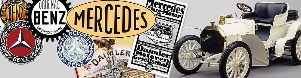 Depictions of numerous iterations of Mercedes-Benz logo and advertisements alongside one of the original Mercedes-Benz cars