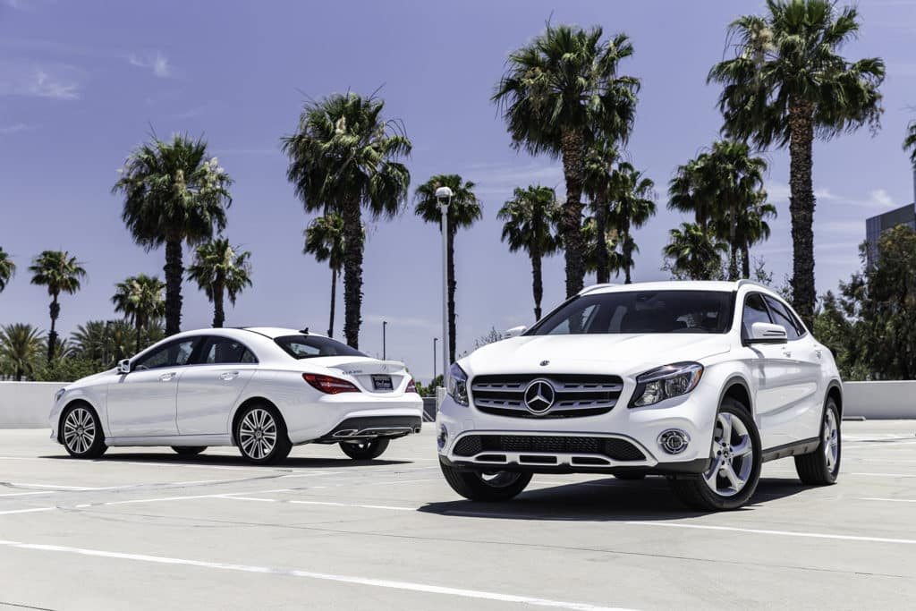 Mercedes-Benz 2018 GLA and 2018 CLA white