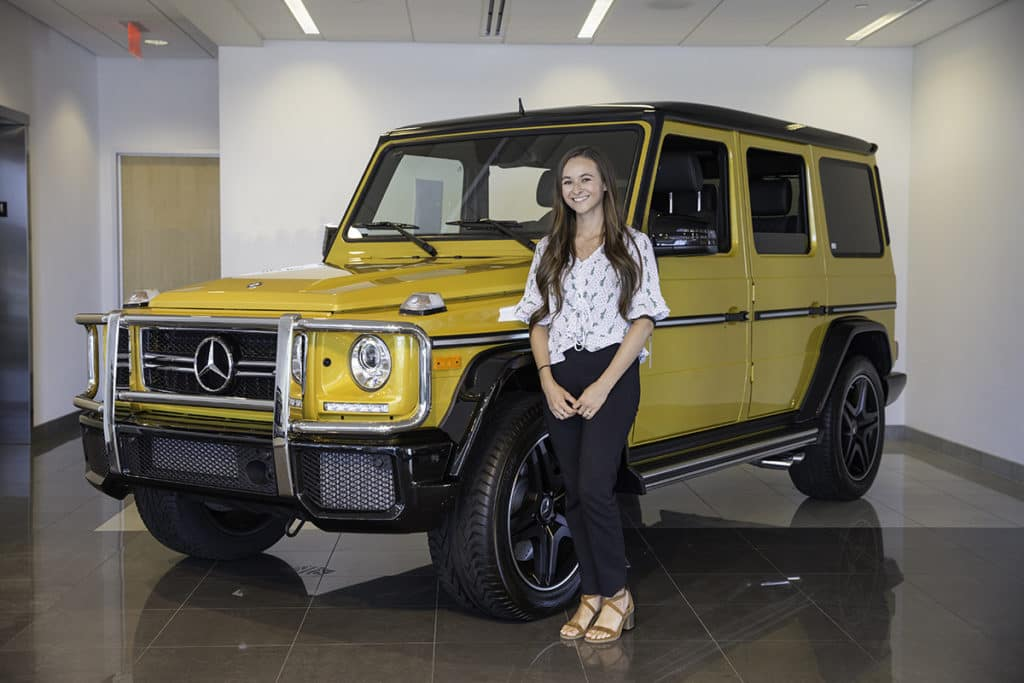 Natalie Tames Mercedes-Benz of Temecula Yellow G Wagon