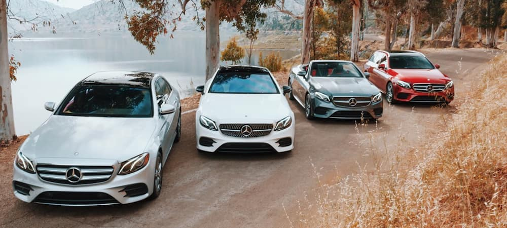 Four 2019 E-Class models lined up on the road