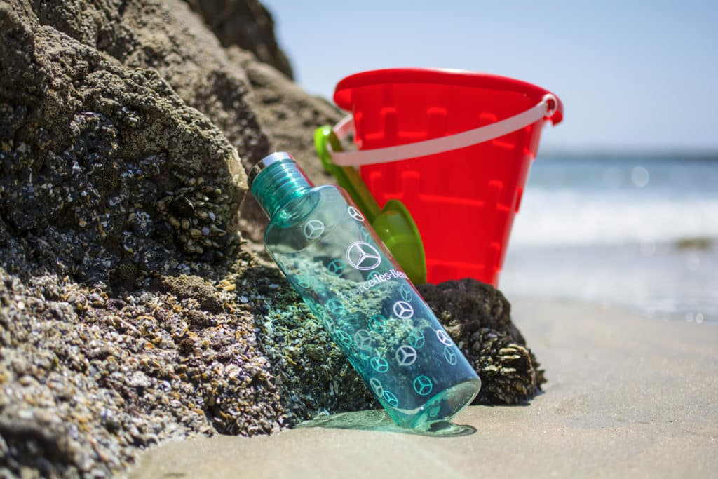 Mercedes-Benz Water Bottle at Beach