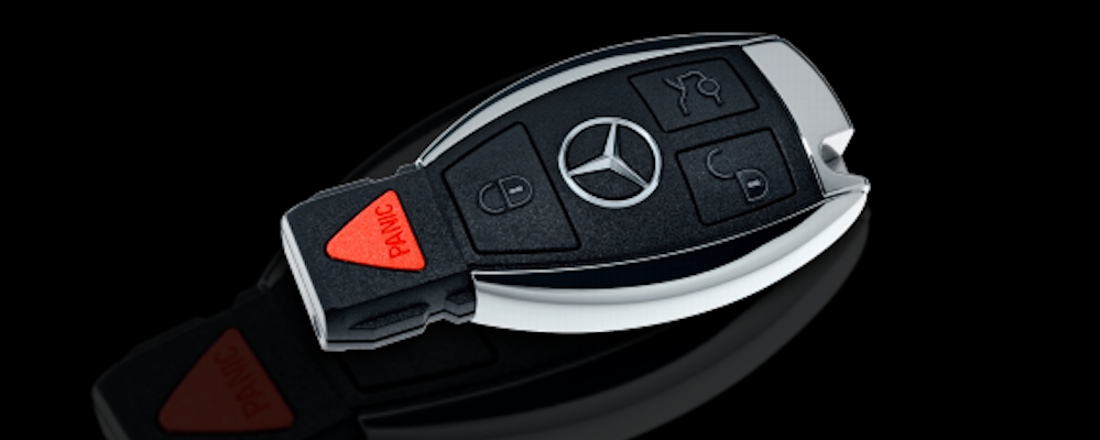 Closeup of Mercedes-Benz key fob
