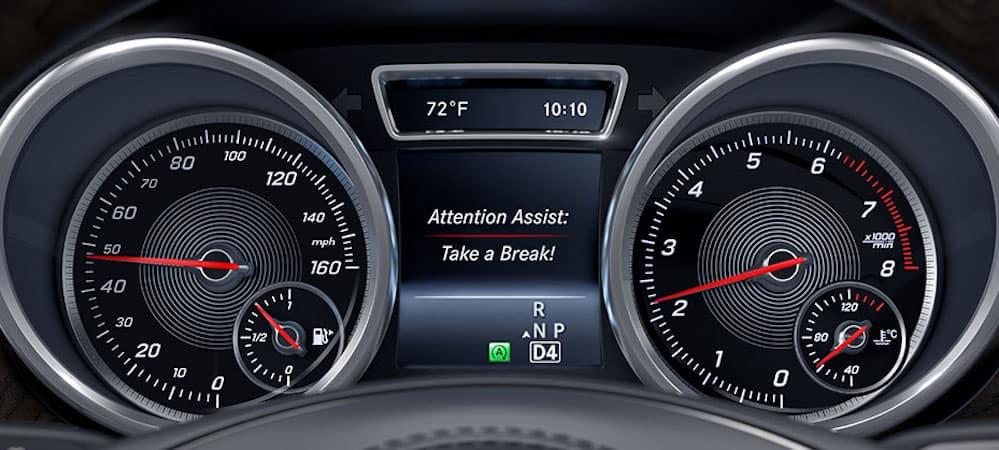 Mercedes-Benz ATTENTION ASSIST Take a Break display on gauge cluster