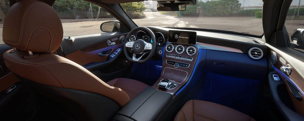 Interior pic of 2020 C-Class Sedan cabin from passenger seat view