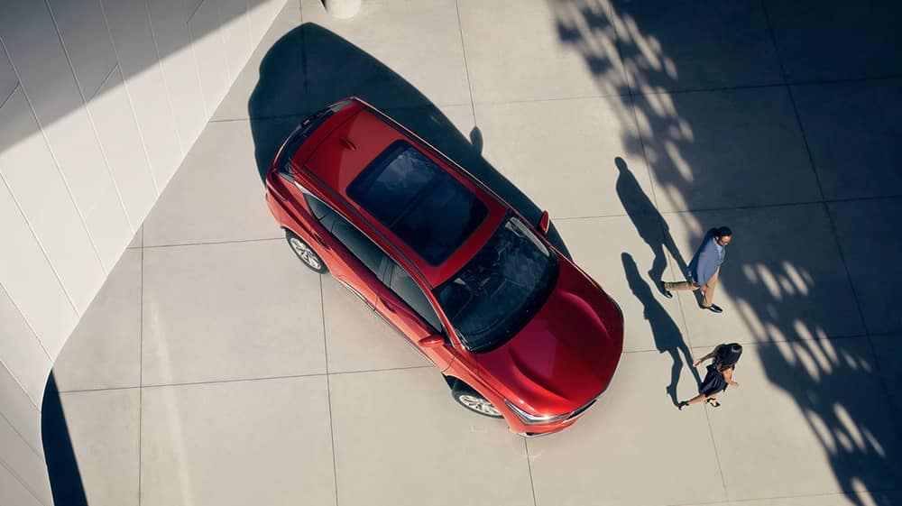 2019 Acura RDX aerial view in red