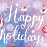 Fantastic happy winter holidays card in vector. Cute stylish birds in stars and snowflakes on bright bokeh background