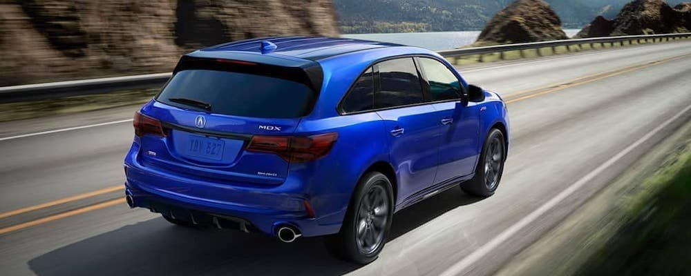 2019 Acura MDX A-SPEC® package in blue on mountain road