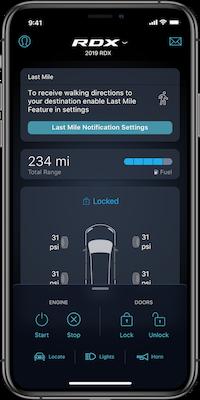 AcuraLink App for Acura RDX on phone