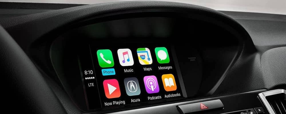 2020 Acura TLX interior touchscreen with Apple CarPlay phone, messages, music, podcast, navigation, more