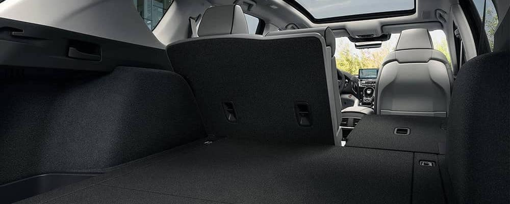 2020 Acura RDX cargo space with split-fold seats from trunk view