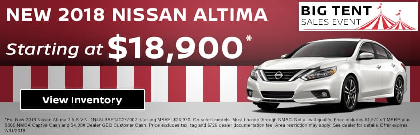 Drive home a new 2018 Nissan Altima starting at just $18,900 in Gastonia NC
