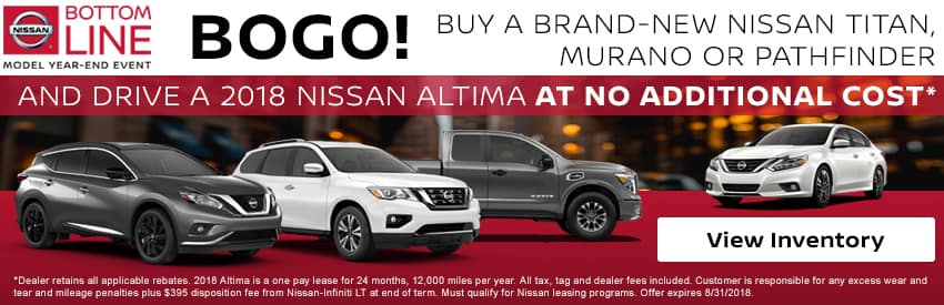 Buy a select new Nissan model and drive home a 2018 Nissan Altima for no additional cost in Gastonia NC