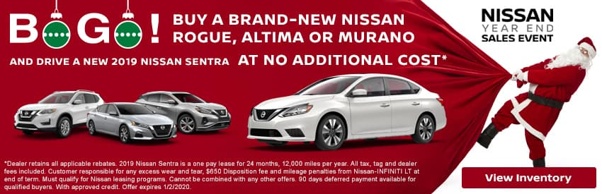 Buy a brand-new Rogue, Altima or Murano and drive a new 2019 Sentra at no additional cost in Gastonia NC