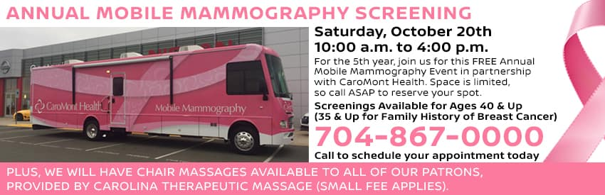 Join us for our Annual Mobile Mammography Screening on Saturday, October 20th in Gastonia NC