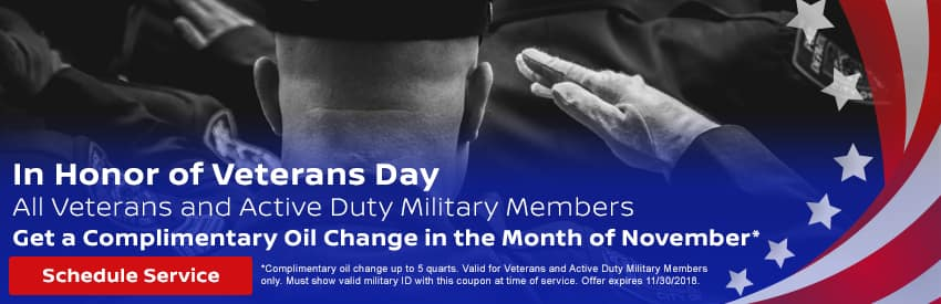 Complimentary oil change for all Veterans and Active Duty Military Members in Gastonia NC