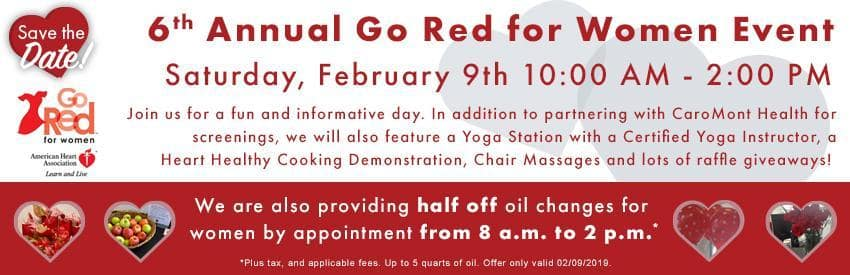 Join us for the 6th Annual Go Red for Women Event on 2/9 in Gastonia NC