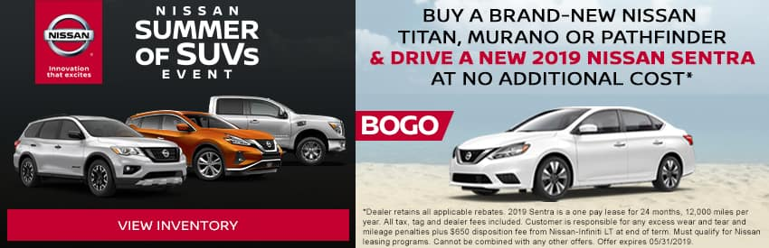 Buy a Brand-New Nissan Titan, Murano or Pathfinder and drive a New 2019 Nissan Sentra at no additional cost in Gastonia NC
