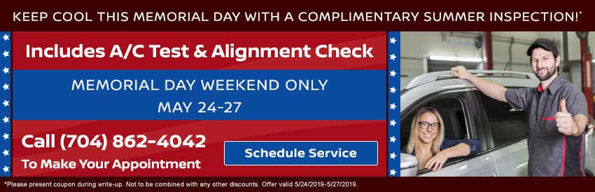 Get a complimentary summer inspection on Memorial Day Weekend in Gastonia NC