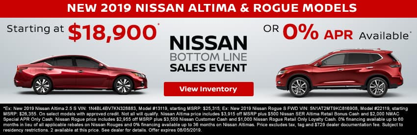 Get a new 2019 Nissan Altima or Rogue starting at $18,900 in Gastonia NC