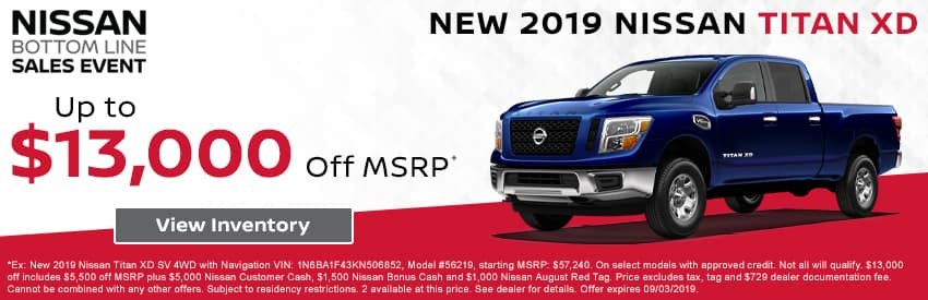 Get up to $13,000 off a new 2019 Nissan Titan XD in Gastonia NC