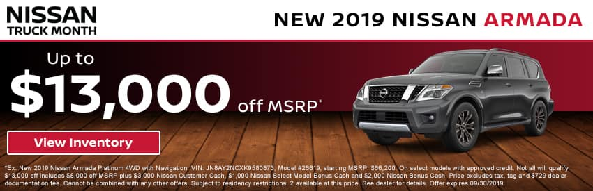 Get up to $13,000 off a new 2019 Nissan Armada in Gastonia NC