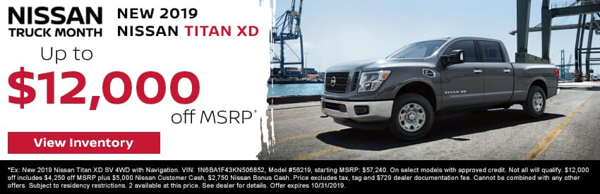 Get up to $12,000 off a new 2019 Nissan Titan XD in Gastonia NC