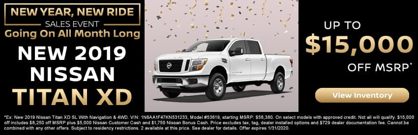 Get up to $15,000 off a new 2019 Nissan Titan XD in Gastonia NC