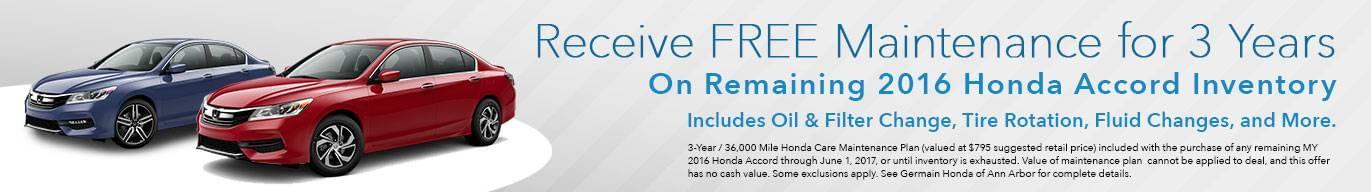 Free Maintenance on 2016 Honda Accords