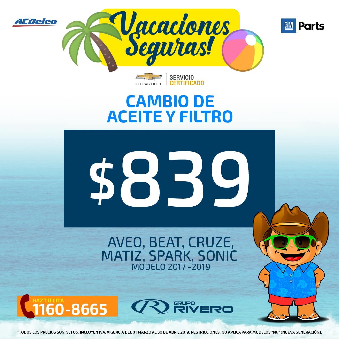 Chevrolet Grupo Rivero cambio de Aceite y Filtro