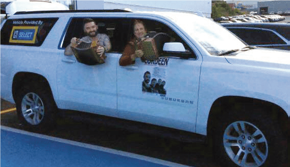 SUPPORTING THE ARTS COMMUNITY - Local musician, Billy Sutton, and his accordion band, Cordeen, recently toured Ireland, prior to taking their show through many towns and communities in Newfoundland And Labrador. Hickman Select was quick to jump on board to ensure the band had a nice ride to take them in comfort through their travels of our fine province. In addition to offering prize packages to several lucky customers, Cordeen also treated the employees at three of our locations to a kitchen party celebration and what a time it was! We hope everyone enjoyed the wonderful talents that Cordeen had to offer.