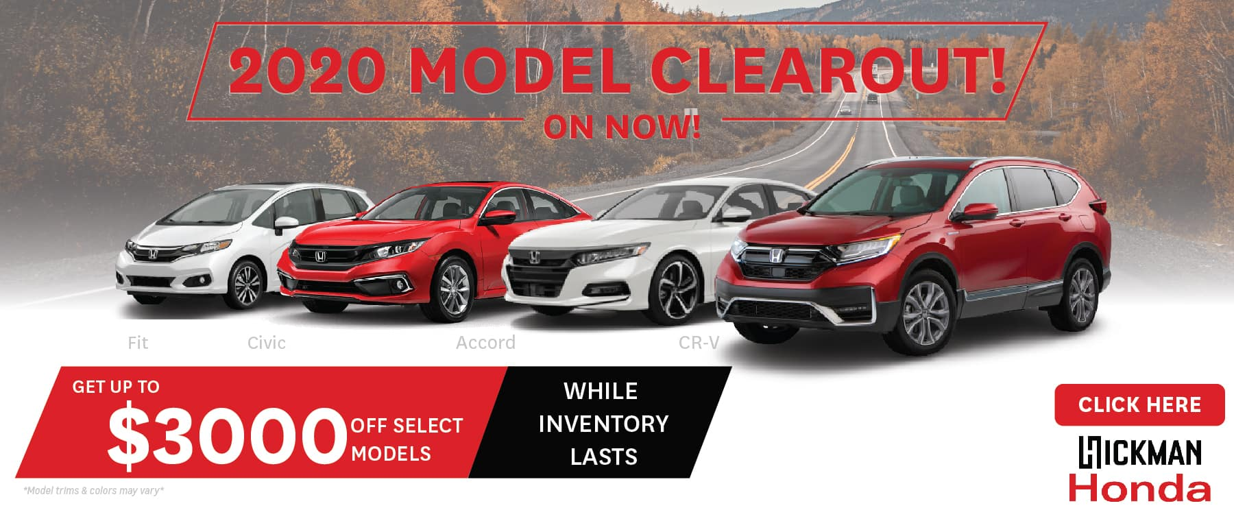 2020 Model Clear Out – Honda – Web Banner Desktop-01