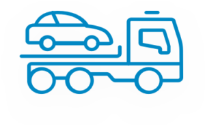 car on tow truck icon