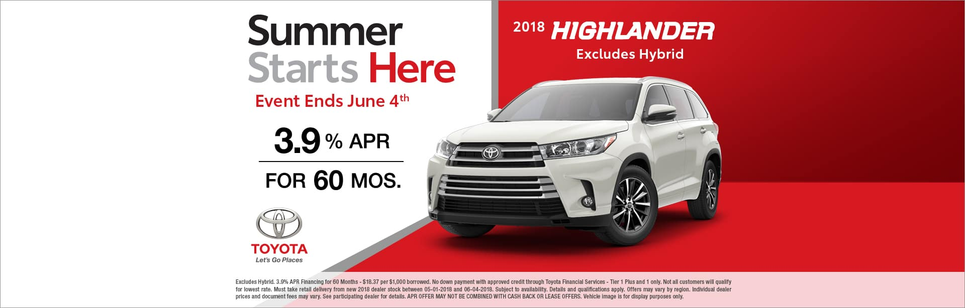 2018 Toyota Highlander Back to Summer Offer