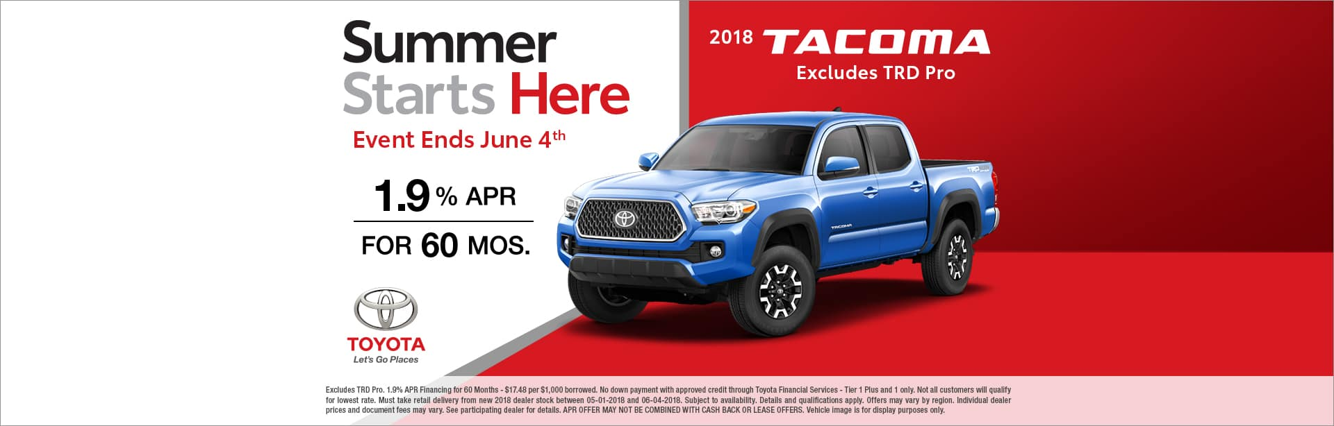 2018 Toyota Tacoma APR Offer