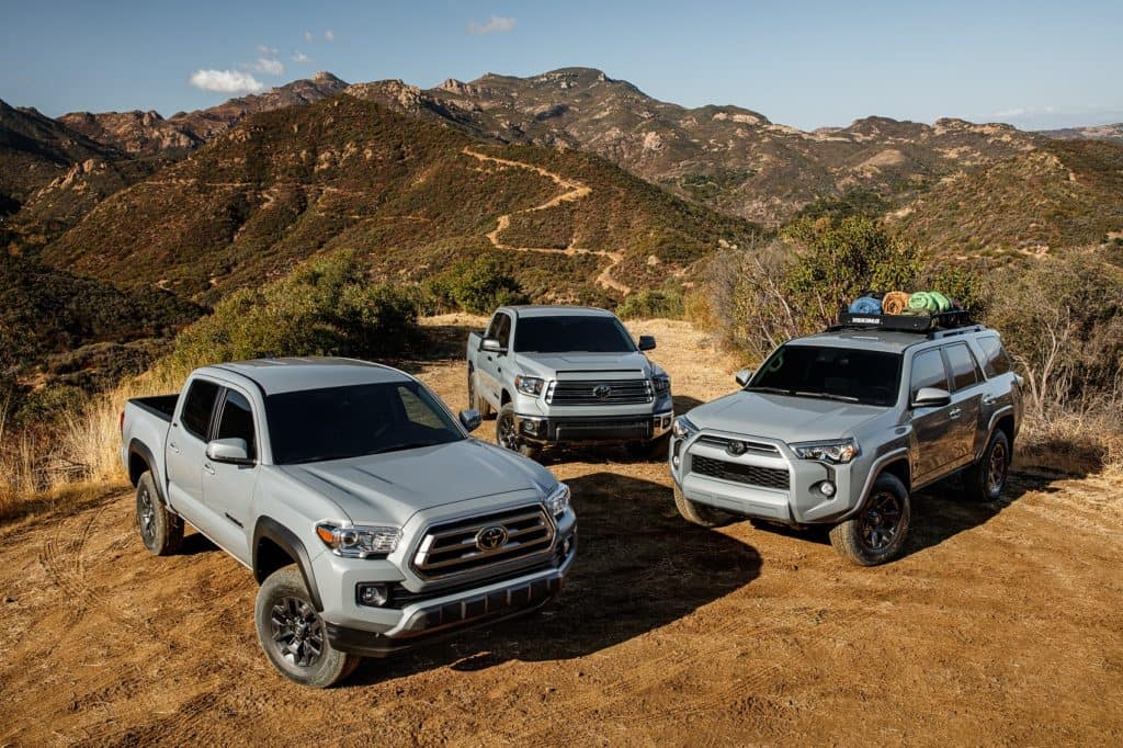 2021 Toyota lineup on the trail