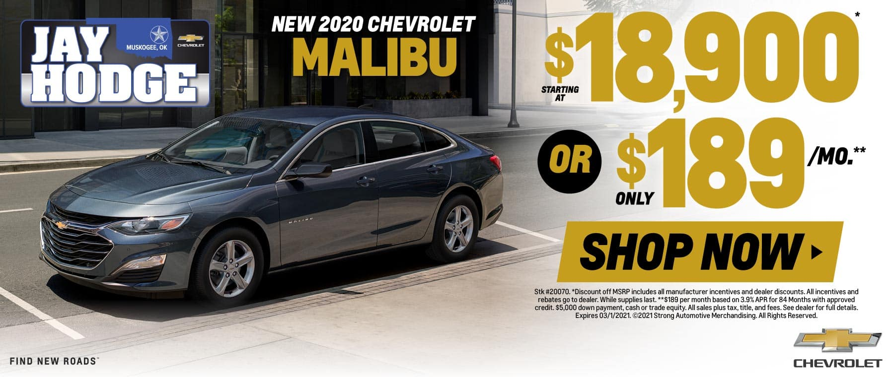 New 2020 Chevrolet Malibu - Starting at $18,900 or $189/mo - Shop Now