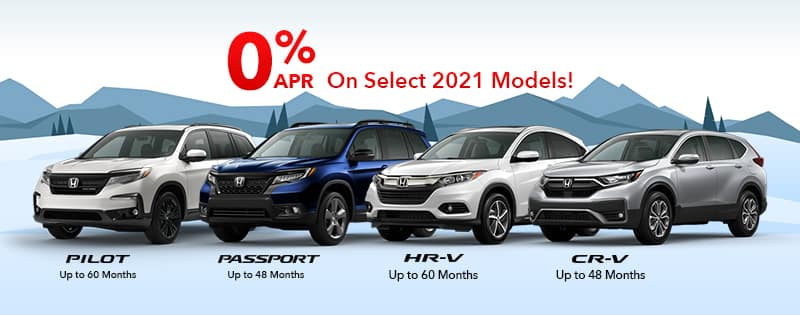 Get as low as 0% APR Financing for up to 60 months on select 2020 and 2021 Honda models!
