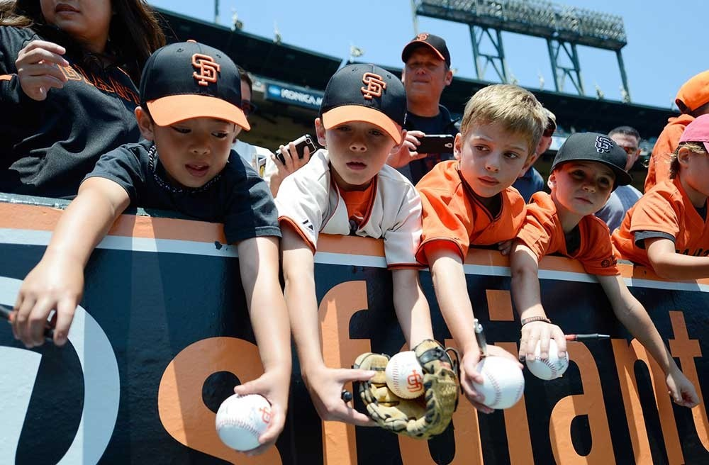 Kids at a Giants game