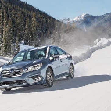 2018 Subaru Legacy on a snowy mountain