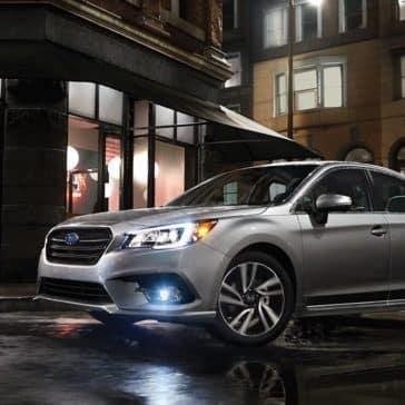2018 Subaru Legacy at a cafe at night