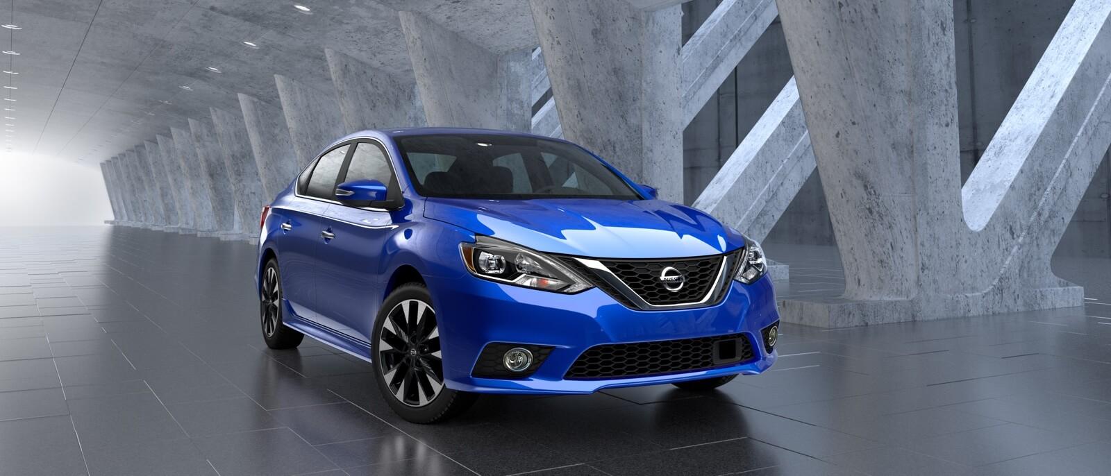 Blue 2016 Nissan Sentra on display